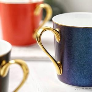Étoiles brillantes Tasse à os Tasse à café en porcelaine Gold edge Petit déjeuner Tasse à eau espresso thé party tazas de café maison Boire