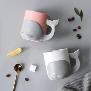 Dessin animé de baleine tasse en céramique créative tasse de café tasse de bureau tasse en verre de lait