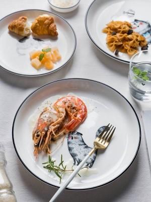 Amusement de chat couleur émail vaisselle en céramique assiette plat de ménage plat de nouilles bol de riz
