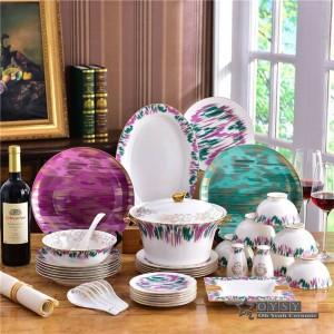 Ensemble de vaisselle en céramique, originalité de la mode, design coloré Ensemble de vaisselle 58pcs Ensemble de dîner à rayures
