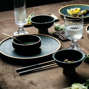 Assiettes en céramique incrustées d'or Steak Steak Dish Style nordique Vaisselle rétro bol Ins assiette assiette tasse tasse vaisselle haut de gamme