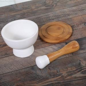 Bol de broyage en céramique bol à l'ail épluchage garlics nourriture broyeur de légumes bâton de bambou poudre broyeur à épices moulin à grain