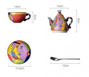 Théière en céramique verres à boire tasse et soucoupe café thé ensembles peinture à la main art design vaisselle théière