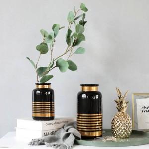 Vase En Céramique Style Européen Simple Blanc Noir Or De Luxe Fleur Décoration Décoration Maison