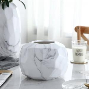 Vase En Céramique Géométrique Moderne Minimaliste En Marbre Motif Creative Fleur Salon Table À Manger Décoration Douce
