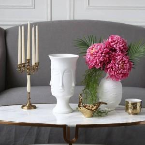 Vase en céramique Muse Visage Lèvre Multifaceted Vase Décoration de La Maison Vase Artificielle Fleur Bijoux