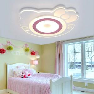 Lampe de plafond pour chambre d'enfant fille princesse chambre Creative Warm Hellokitty chambre de chat chambre chambre enfants conduit acrylique plafonnier