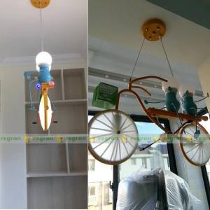 Enfants led lumières personnalité vélo enfant suspendu lampe chambre garçon chambre lampe moderne pendentif lumière créative bébé meilleur cadeau