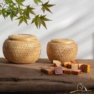 Boîtes à thé en bambou faites à la main Boîte de rangement pour aliments Personnalité Boîte à thé Panier de fruits Panier de fruits secs Accessoires de thé