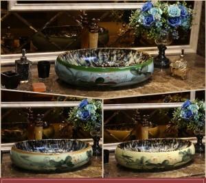 Vitré Lotus Ovale Europe Style Comptoir À La Main En Céramique Lavabo Lavabo Salle De Bains Lavabo Salle De Bains
