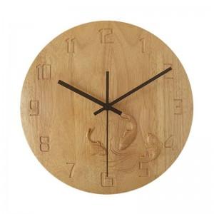 horloge murale créative en bois massif carp sculpté chambre chambre horloge murale en bois muet salon étude horloges