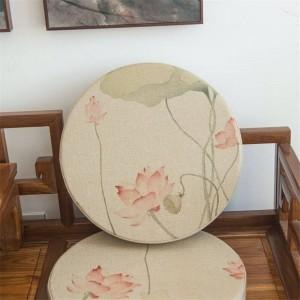 tissu de lin de haute qualité autour de coussin créatif rose coussins de motif de lotus épaississent tatami mat coussin de siège de yoga