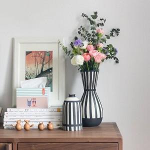 Vase en céramique blanc noir classique de vase de fleur pour le vase de bureau de fleurs séchées