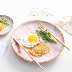 Plateau de petit déjeuner en céramique avec motif en marbre rose avec motif doré dans le style romantique de Bohême InsFashion
