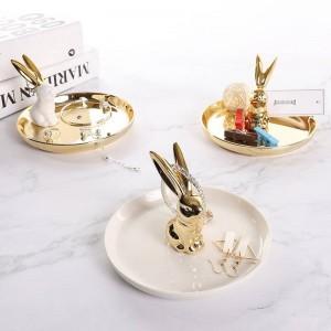 InsFashion super luxe rond lapin plat bijoux en céramique pour petite amie et fête de mariage emporter ensembles de cadeaux