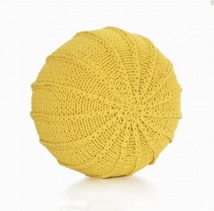 Cotton Craft - Tricoté à la main, style de câble Pouf de sol pour pouf Dori - Cordon tressé en coton 100% - Pouf fait à la main et cousu à la main, rond
