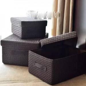Boîte de rangement couverte épaississement imitation d'herbe tissée panier de rangement boîte de rangement pour vêtements de bureau grand tiroir