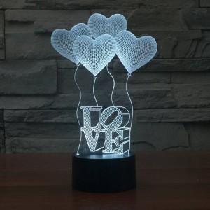 Creative 3D illusion Lampe Décoloration Colorée LED Veilleuses 3D Amour Coeur Acrylique Chambre De Mariage Décor Atmosphère Lampe