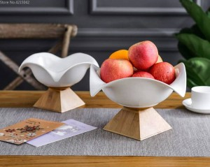 Corbeille à fruits en céramique créative grande corbeille à fruits nordique ménage moderne salon salle de collations panier de rangement base en bambou plaque en céramique