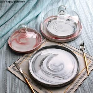 Céramiques européennes de style Plateau à fruits en marbre Avec couvercle Plaque à gâteau Couvercle en verre Plateau présentoir à desserts