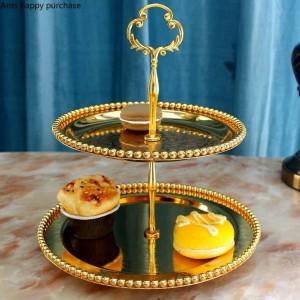 Style européen créatif Double couche Plateau de fruits Salon Cuisine Plateau à gâteaux Assiette de fruits secs Thé de l'après-midi Plateau à collations