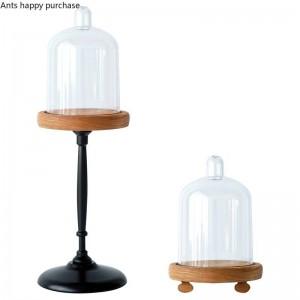 Style européen créatif Rétro Mini porte-gâteaux Tasse à gâteaux Tasse d'affichage Présentoir Base en bois Cache-poussière transparent Décoration