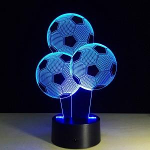 Nuit créative du football 7 couleurs changeantes en forme de ballon 3D LED Illusion lampe 3D Visual Light pour les fans de football cadeau
