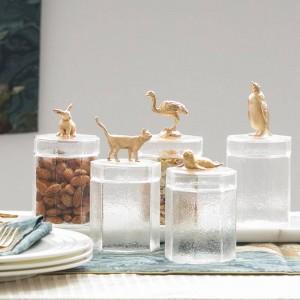Bocal en verre créatif mignon métal animal bouteille bouchon décoration boîte de stockage pot de bonbons grain de café transparent réservoir de stockage bouteilles