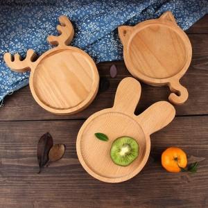 Plateau en bois de style japonais créatif Assiette pour enfants Assiette, gâteau, pain, dessert, assiette de fruits, assiette en céramique
