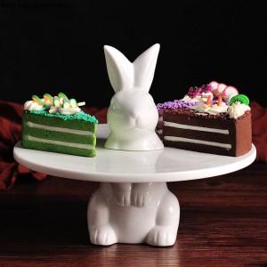 Creative joli lapin Plateau à gâteaux Plateau à fruits Support à gâteaux Assiette décorative de mariage Thanksgiving Décoration de Noël