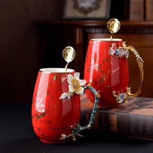Tasse à café en émail multicolore créatif Tasse de grande capacité Céramique Laiton Alliage Poignées Tasses à thé Boissons chaudes et froides Tasse à eau