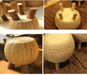 Tabouret de thé en bois massif naturel créatif tissage de tabouret de canapé petit banc de chaussures de changement Tabouret de loisirs stable polyvalent