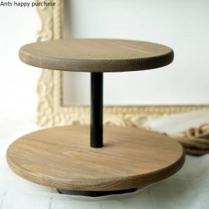 Style nordique créatif Dessert décoration de table en bois Support à gâteaux Accessoires de mariage Présentoir de collations Présentoir à collations Double plateau à gâteaux