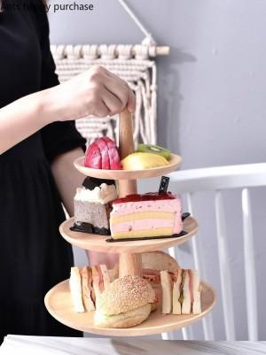 Table à dessert en bois créative Support à gâteau Présentoir Plateau à fruits Mariage Fête d'anniversaire Rangement de cuisine Décorations pour la maison