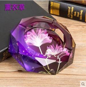 Cendrier en cristal, artisanat en cristal, fournitures de bureau, articles de décoration, cadeaux d'affaires, diamètre de 0,15 mètre