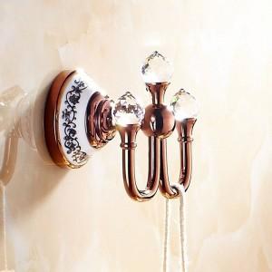 Crochet en cristal, crochet à vêtements en laiton chromé, accessoires de salle de bains élégants Crochets pour peignoir, accessoires de salle de bains 6306