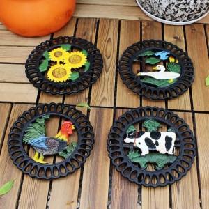 Dessous de plat décoratif en fonte pour cuisine ou table de salle à manger | Rond avec motif animal | Hot Pads pour casseroles et poêles | Résistant à la chaleur