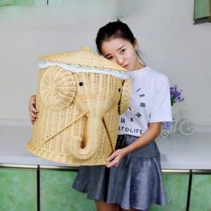 Panier de rangement pour vêtements sales Panier pour vêtements sale Boîte à gants Jouet rotin Seau à vêtements étagère de panier rustique en tissu