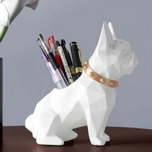 Chien Résine Figurine Porte-stylo organisateur de bureau accessoires de bureau Stockage Bureau porte-pot crayon pour stylo de bureau cadeau artisanat