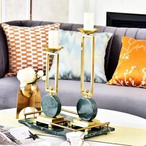 Emeraude modèle chambre chandelier décoration de table décoration marbre bougeoir en métal ornement européen bougeoirs décoratifs
