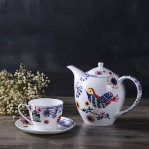Service à thé anglais d'après-midi Assiette de fruits Bone European théière théière à deux étages thé noir café et soucoupe.