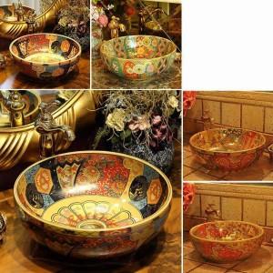 Lavabo en céramique de style européen Vintage style lavabo lavabo lavabo à la main antique rond