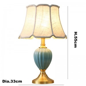 Europe zèbre rayures lampes de table en céramique foyer décoration de chevet lumière tissu blanc abat-jour étude LED éclairage de lecture