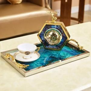 Agate bleue européenne modèle de pierre plateau rectangulaire décoration maison salon table basse stockage lit décorations