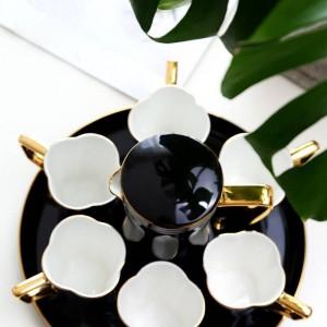 Tasse à café européenne Bone Set tasse à thé ensemble noir / blanc eau tasse théière après-midi tasse de thé tasse de café tasses ensemble cadeau de mariage