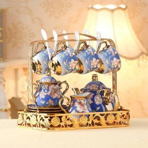 Ensemble de tasses et de tasses à thé en céramique européenne, ivoire, doré, os