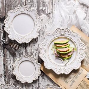 Style de la Cour européenne Vintage vaisselle en céramique en relief Accueil plaque de table bol assiette à dessert bol assiette à dessert