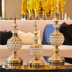 Verre en cristal européen Candy bocal salon décoration ornements petit sucrier en métal avec couvercle assiette de fruits secs peut