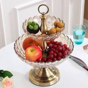 Verre européen double couche bol de fruits décoration de la maison salon usine de bijoux vente directe