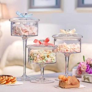 Verre à bonbons en verre européen de haute qualité couvercle transparent de stockage de bouteilles de dessert en verre anti-poussière gâteau décoration assiette de mariage